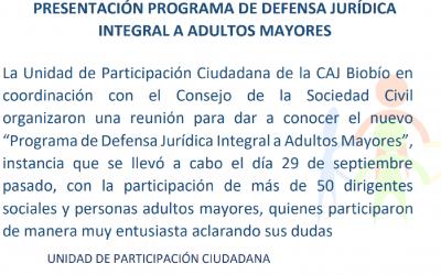 Presentación programa de defensa jurídica integral a adulto mayor.